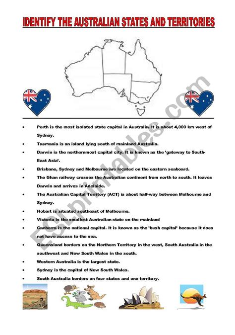 worksheets australian geography puzzle