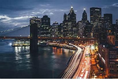 York Night Usa Lights Bridge Desktop