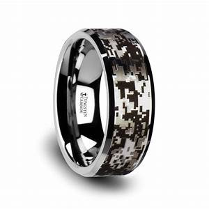 Stealth tungsten carbide wedding ring with engraved for Tungsten camo wedding rings