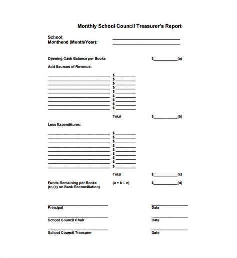 treasurer report templates  word