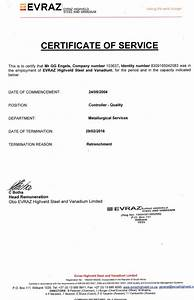 Certificate of Service  Retrenchment