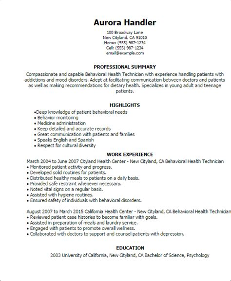 licensed psychiatric technician resume sles professional behavioral health technician templates to showcase your talent myperfectresume