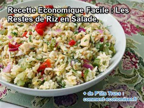 cuisiner reste de riz recette economique facile les restes de riz en salade