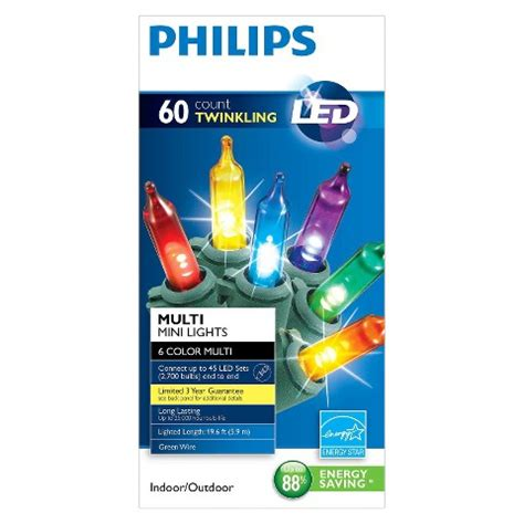 philips 60ct multicolor twinkle led mini string lights