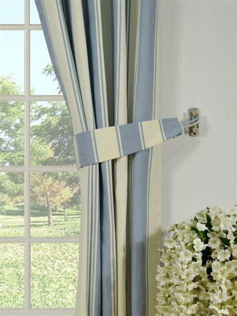 blue striped cotton blackout window curtains modern