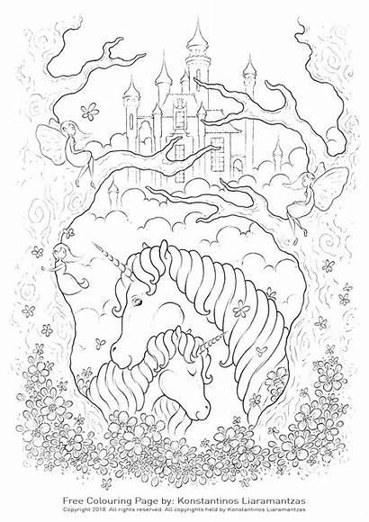 Coloring Unicorns Licorne Pages Coloriage Castle Unicorn