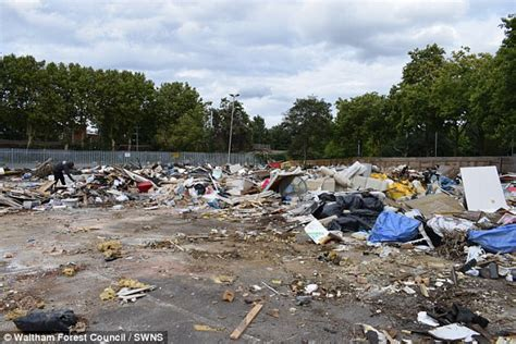 flytippers turn  london car park  rubbish dump