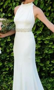 vera wang white high neck halter wedding dress 700 size With high neck halter wedding dress