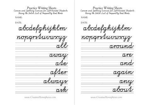 16 Best Images Of Cursive Printable Worksheets For Lefties  Lefthanded Cursive Writing