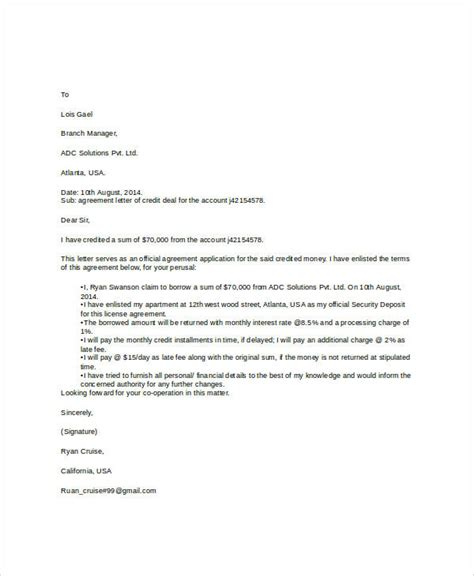 sample agreement letter templates   ms