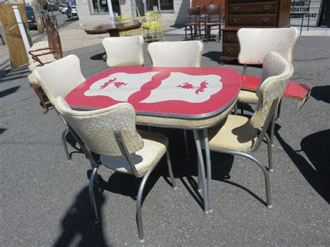 retro kitchen table and 6 chairs 50 s chrome with design
