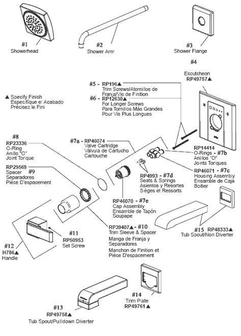 Top Tub And Shower Parts For Delta Monitor Series Faucets