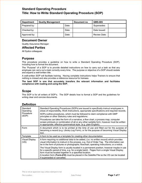 standard operating procedure template 14 standard operating procedures templates authorizationletters org