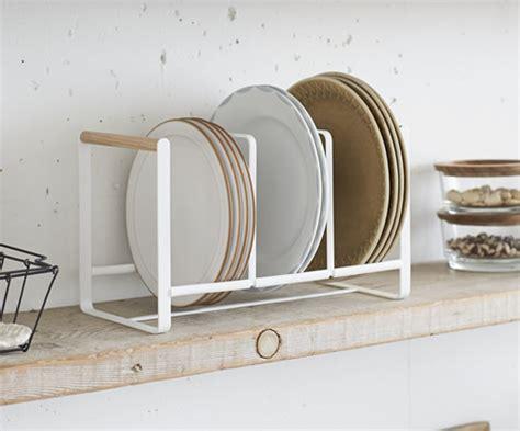 scandi triple vertical plate rack yamazaki cupboard drawer organisers store