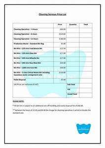 8 cleaning price list templates free word pdf excel With cleaning price list template