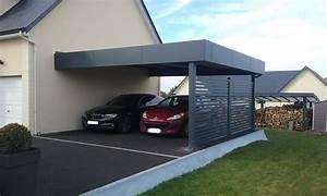 Carport 2 Voitures Alu : carport aluminium pr au abri deux voitures adoss un mur de maison avec panneaux en alu ~ Medecine-chirurgie-esthetiques.com Avis de Voitures