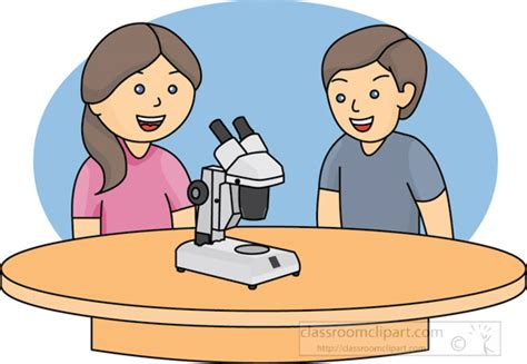 School : kids-at-table-microscope-color : Classroom Clipart