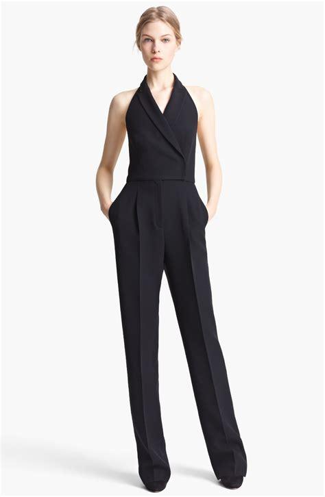 tuxedo jumpsuit valentino cady tuxedo halter jumpsuit in black lyst
