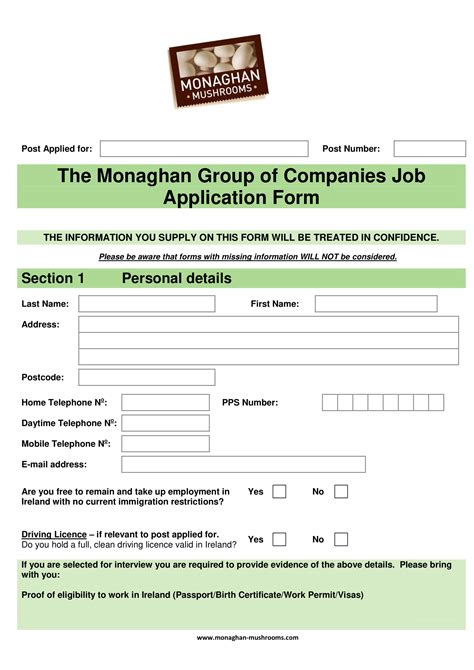 monaghan group  companies application form