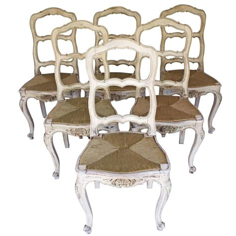 set of six painted provincial chairs louis xv style