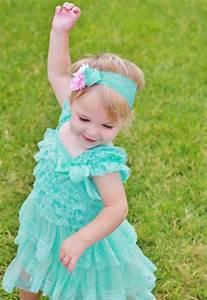 Lovely Aqua Lace Baby Dress Headband SET,aqua Toddler ...