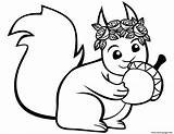 Squirrel Coloring Acorn Pages Printable Squirrels Cartoon Template Drawing Templates Preschool Animals Sketch Mammals sketch template