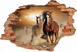 Image Trompe L Oeil : stickers trompe l 39 oeil 3d chevaux 5 pas cher ~ Melissatoandfro.com Idées de Décoration