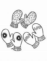 Mittens Coloring Pages Pair Three Drawing Gloves Getdrawings sketch template