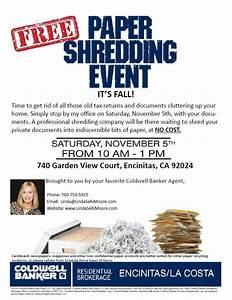 Free paper shredding event encinitas realtor for Document shredding encinitas