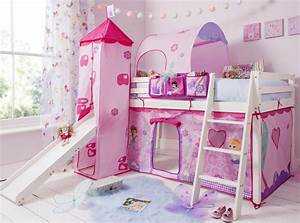Cabin Bed Mid Sleeper Pine Kids Bed with Slide Fairies ...