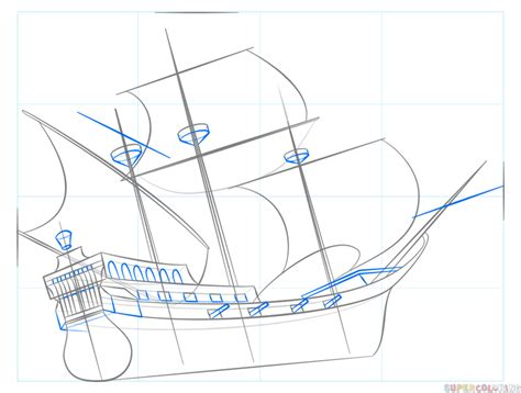 How To Draw A Pirate Boat by How To Draw A Pirate Ship Step By Step Drawing Tutorials
