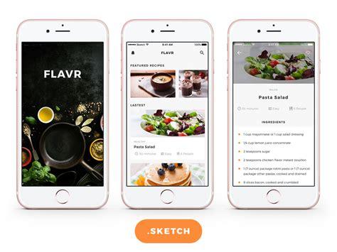 Free Food App Design For Sketch