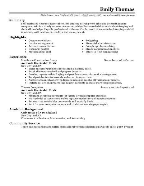 Account Receivable Resume Sle accounts receivable clerk resume exles doc accounting