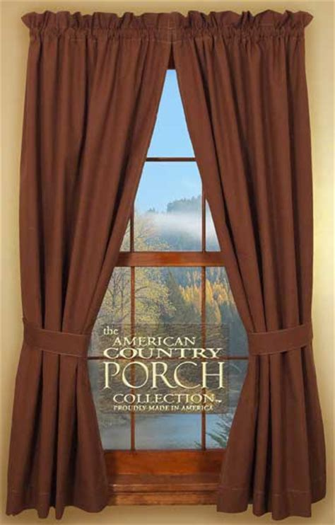 Solid Brown Tieback Curtain Panels