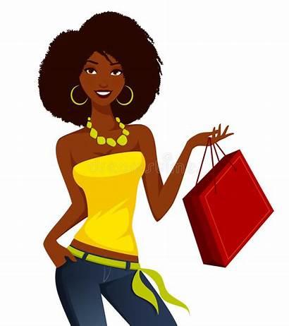 African Woman American Shopping Young Vector Cartoon