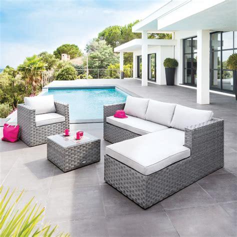 Salon de jardin tresse gris pas cher ameublement exterieur jardin | Horenove