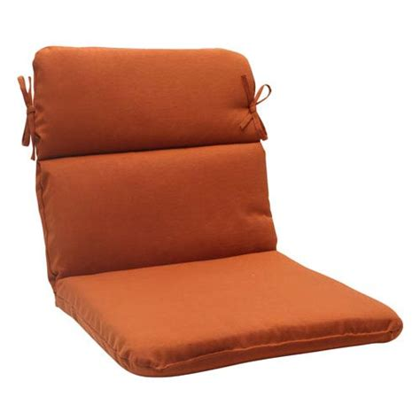 outdoor cinnabar rounded chair cushion in burnt orange