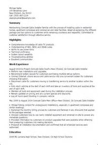 Cable Technician Supervisor Resume by Professional Comcast Cable Installer Templates To Showcase Your Talent Myperfectresume