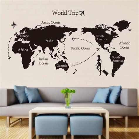 black world trip map vinyl wall stickers  kids room