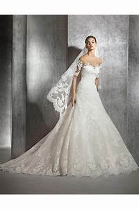 a line illusion neckline short sleeve tulle lace wedding With illusion sleeve wedding dress
