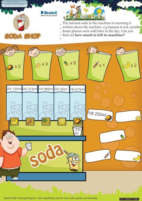 soda shop math worksheet  grade   printable