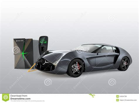 Electric Car Charging In Ev Charging Station. Stock Photo