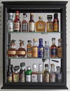 SOLID WOOD, Mini Liquor Bottle Display Case Cabinet Shadow ...