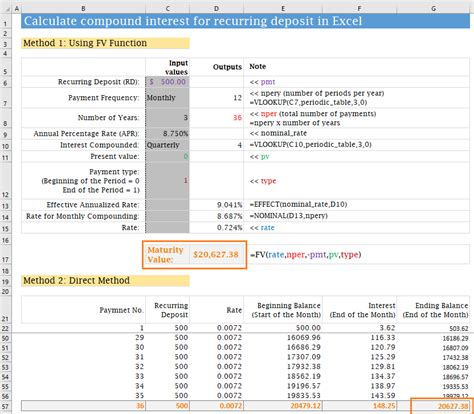 How To Calculate Compound Interest For Recurring Deposit In Excel