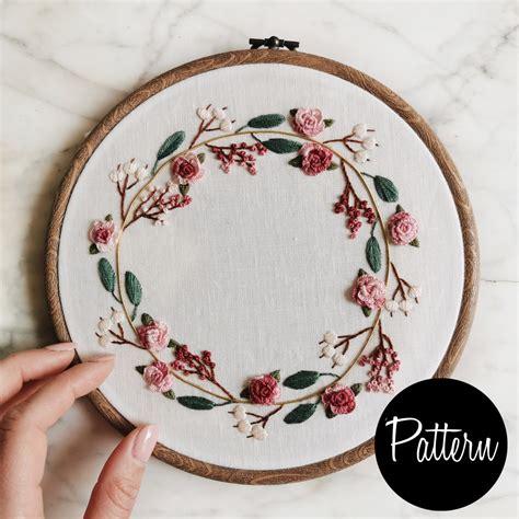flower wreath embroidery pattern