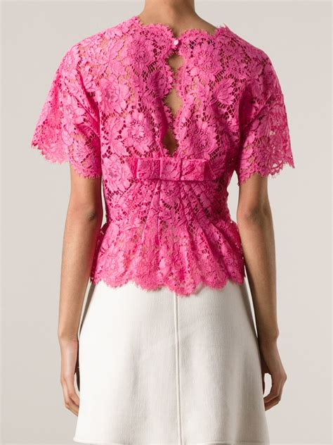 bow floral blouse valentino floral lace blouse in pink lyst