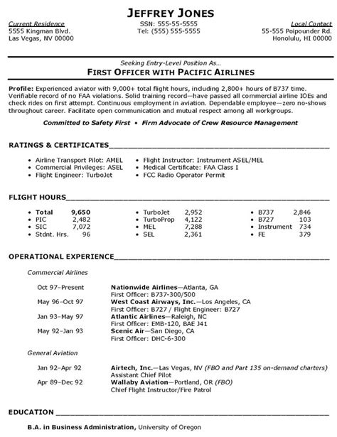 Airline Resume Format by Commercial Airline Pilot Resume Resume Sle Resume