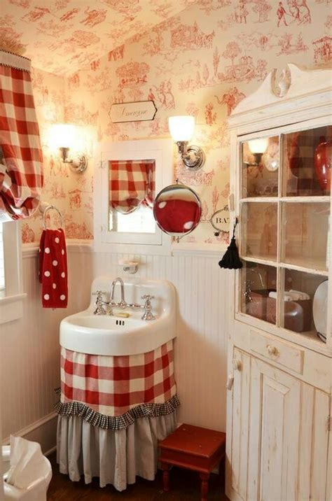 shabby french chic red white bathroom for home pinterest