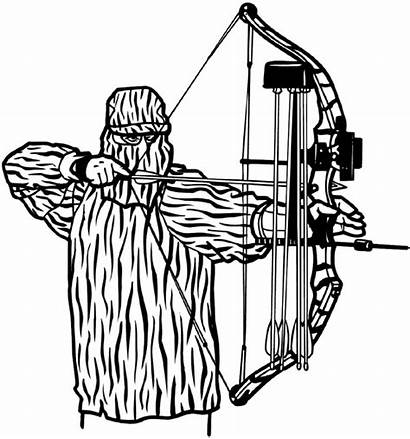 Bow Hunting Hunter Compound Line Drawing Decals