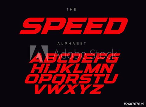speed letters set red race font italic bold racing style vector latin alphabet fonts